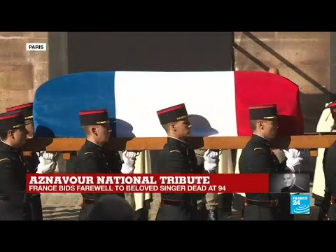 Aznavour national tribute: Singer's coffin leaves 'Invalides' as choir sings ''Emmenez-moi''