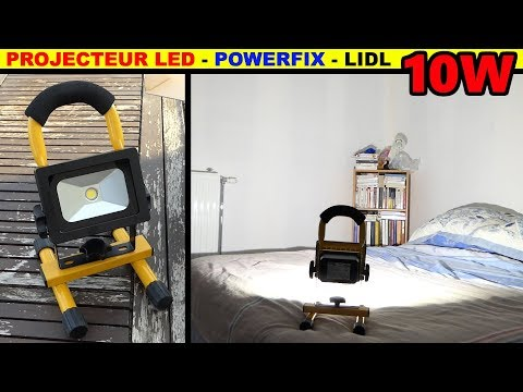 LIDL projecteur à led sans fil powerfix 10 watt Rechargeable 10W LED Spotlight Akku LED-Strahler