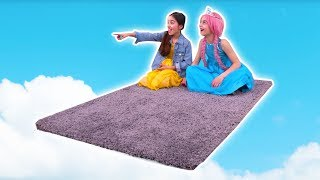 MAGIC FLYING CARPET PRANK 🚀 Lilliana and Olivia Fly Away! - Princesses In Real Life | Kiddyzuzaa