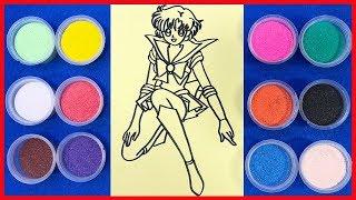 Đồ chơi trẻ em TÔ MÀU TRANH CÁT SAO THỦY Sailor Mercury - Colored Sand Painting Toys (Chim Xinh)