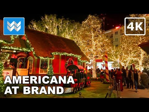 Christmas Time at Americana the Brand in Glendale | Night Walking Tour | LA Travel Guide【4K】