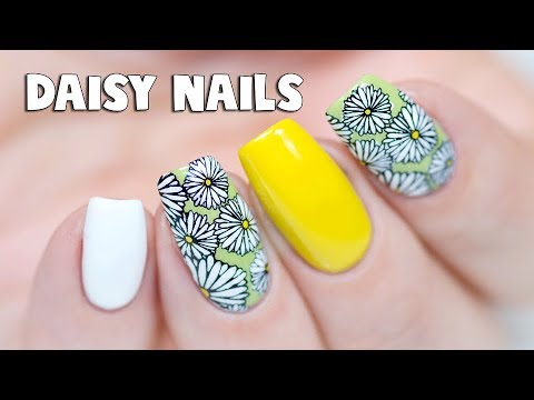CUTE DAISY NAIL ART - Reverse Stamping Technique