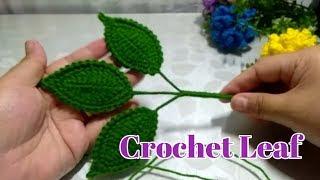 Crochet Leaf For Flower Rose~~ Toturial Daun Rose