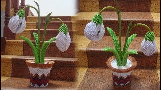 3D Origami Snowdrop Flower , Galanthus Tutorial | DIY Paper Snowdrop Flower Home Decor