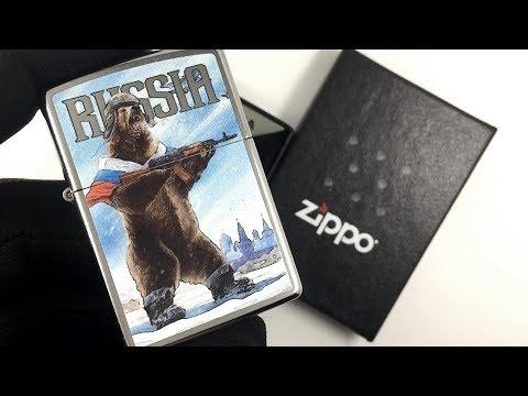 207 Зажигалка Zippo Russian Bear, Street Chrome