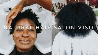IM RETAINING LENGTH!   4C Natural Hair Salon Visit   Wash, Blow Out, Trim