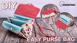 DIY EASY PURSE BAG | Cute Clutch Bag Easy Sewing Tutorial [sewingtimes]