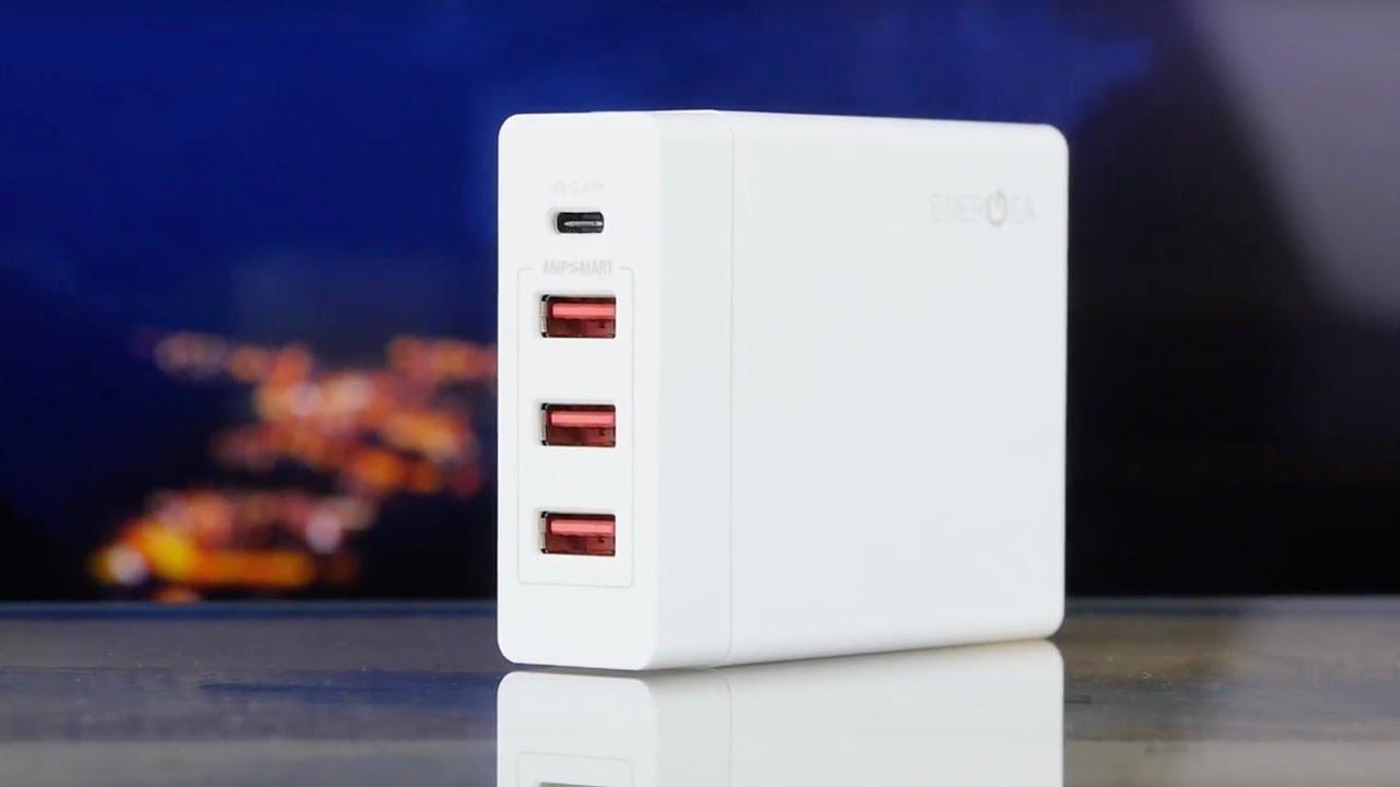 Универсальное сетевое ЗУ Energea USB 3x+1x(PD) белый video preview