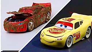 Restoration Model Car Lightning McQueen Repaint To Happy Yellow And Customize The New Color