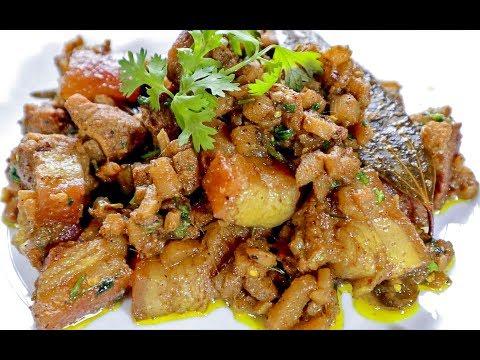 Bodo Style Pork Recipe with Banana Stem   Oma Khaji   Northeast Indian Recipes   Bodo Pork Recipe