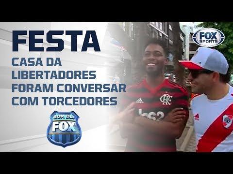 FESTA NAS RUAS DO RIO! Torcedor do Flamengo e do River Plate criam clima descontraído!