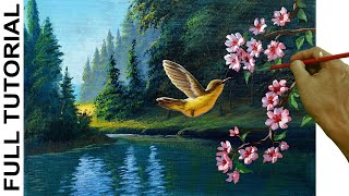 Acrylic Landscape Painting Tutorial / Humming Bird And Cherry Blossom