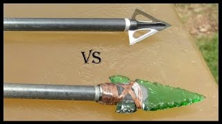 Part 1: Glass Arrowhead vs. Modern Broadhead - Ballistics Gel Penetration Comparison