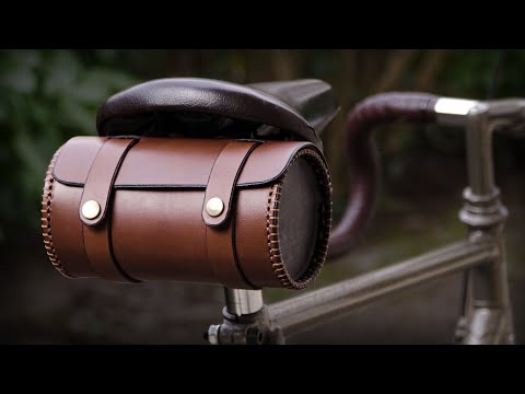 Crafting a round leather bag for vintage bicycles