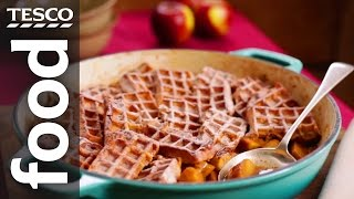 How to make toffee apple waffle pudding
