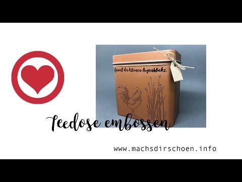 Stempeltechniken #3: Kupfer Teedose oder ähnliches embossen