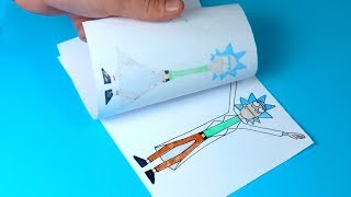 EASYEST RICK AND MORTY FLIPBOOK CHALLENGE - What can I do with just two paper?