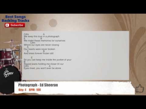 Photograph - Ed Sheeran Drums Backing Track with chords and lyrics