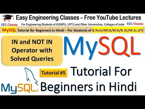 MySQL Tutorial #5 for Beginners in Hindi: IN, NOT IN Operator with Solved Queries