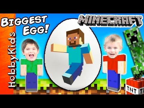 World's Biggest MINECRAFT Surprise Eggs! Steve + Creeper Toys, Family Fun by HobbyKidsTV