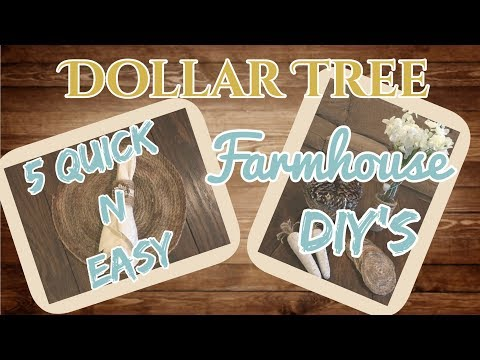 5 QUICK N EASY DOLLAR TREE FARMHOUSE DIY's | Rustic | Dollar Tree DIY | Farmhouse Decor Ideas