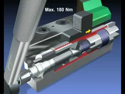Die Kraftspannspindel ist ein Spannelement, das zum kraftschlüssigen Spannen von schweren Werkstücken an spanenden Großmaschinen eingesetzt wird