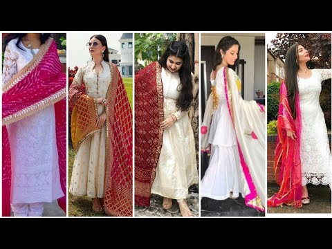 White & Off White Punjabi suits With colours fully Dupatta