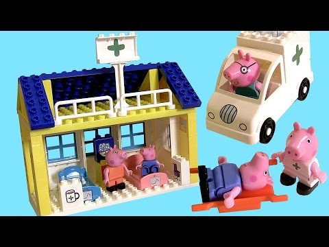Peppa Pig Toys Mega Hospital Blocks Building Toys with Ambulance & Nurse Peppa Pig