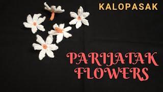 Coral Jasmine, Night Jasmine, Crochet Flowers Type 7, Parijat Flowers / पारिजात, प्राजक्ताची फुले