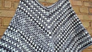 Poncho Mit Fransen Streifen Und Knubbel Muster Häkeln Most
