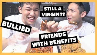 KOREAN CHICKEN MUKBANG + Q&A | WE GOT BULLIED, FWB, ARE WE STILL VIRGIN?