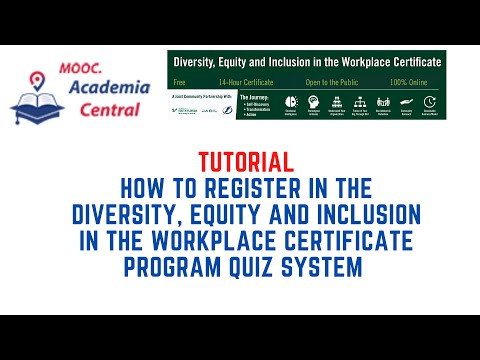 How to Access the Quiz Platform for the Diversity Certificate - YouTube