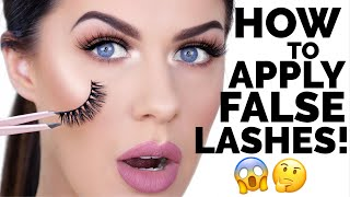 HOW TO APPLY FALSE EYELASHES FOR BEGINNERS!! | EASY & FAST!!! - Video Youtube