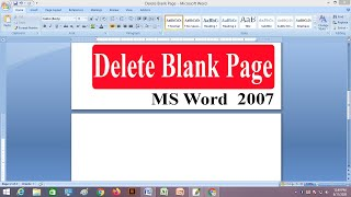 How to remove or delete  a blank page  Ms Word 2007 Bangla tutorial (2020)