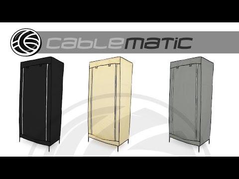 Armario ropero guardarropa de tela desmontable  con puerta enrollable distribuido por CABLEMATIC ®