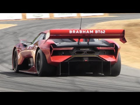 NEW Brabham BT62 Lovely V8 Sound! 700hp, 972kg Track-only Toy At Goodwood FoS 2018