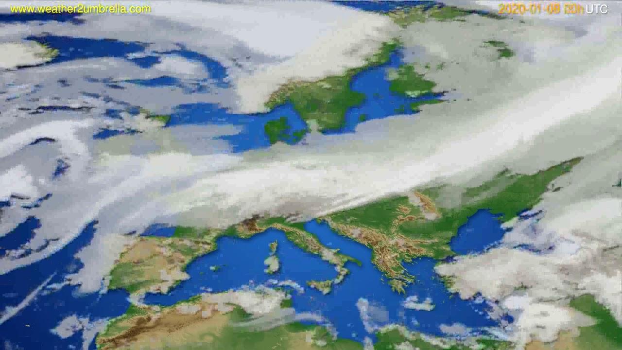 Cloud forecast Europe // modelrun: 00h UTC 2020-01-08