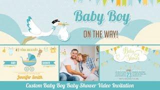 Baby Shower Invitation Baby Boy   Personalized Baby Shower Invitation with Photos