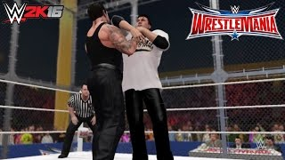 WWE 2K16 Undertaker vs Shane McMahon WM 32 (Sting attacks the Undertaker & Shane wins!)