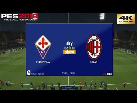 PES 2019 (PC) Fiorentina vs AC Milan   REALISTIC SERIE A PREDICTION   11/5/2019   4K 60FPS