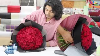 76 Roses Round Bouquet Wrapping Technique / Roses Arrange Flower Bouquet