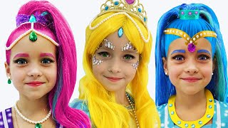 Sofia plays with Shimmer and Shine Dolls and dresses up as Princess for the Holiday