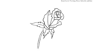 How to Draw a Lovely Rose Bud simple drawing for kids