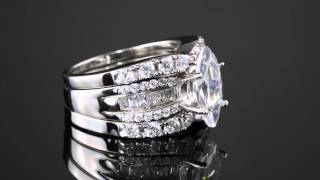 4.55 TCW Marquise-Cut Cubic Zirconia 3-Piece Bridal Ring Set In Platinum Over Sterling Silver