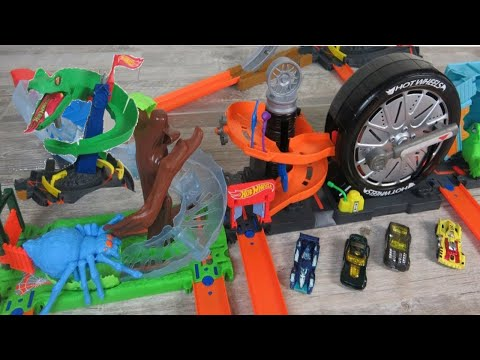 HOT WHEELS CITY Toys (2018): Super Spin, Cobra Crush, Gator Garage & Spider Park Play With Cars