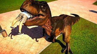 Jurassic World Evolution T Rex & Spinosaurus Breakout & Fight - Dinosaurs Fighting