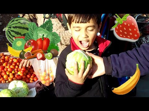 At the Vegetable Market Kids love fruits and vegetables with Sams Review