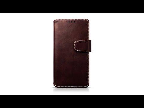 Samsung Galaxy A5 2016 Flipcase Leder Brieftasche Hülle - Braun / Weiß Nähend
