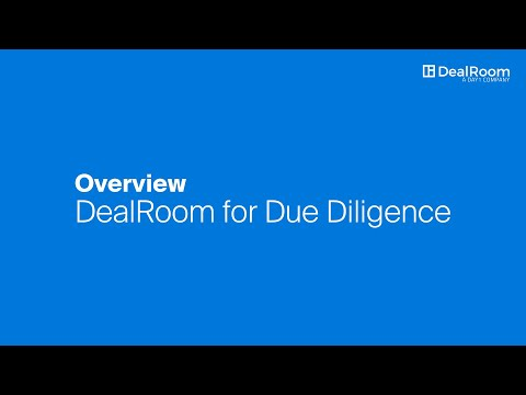 How to Use DealRoom's Software for M&A Due Diligence | Training ...
