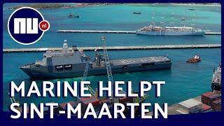 Drone filmt aankomst marineschip Karel Doorman op Sint-Maarten   NU.nl